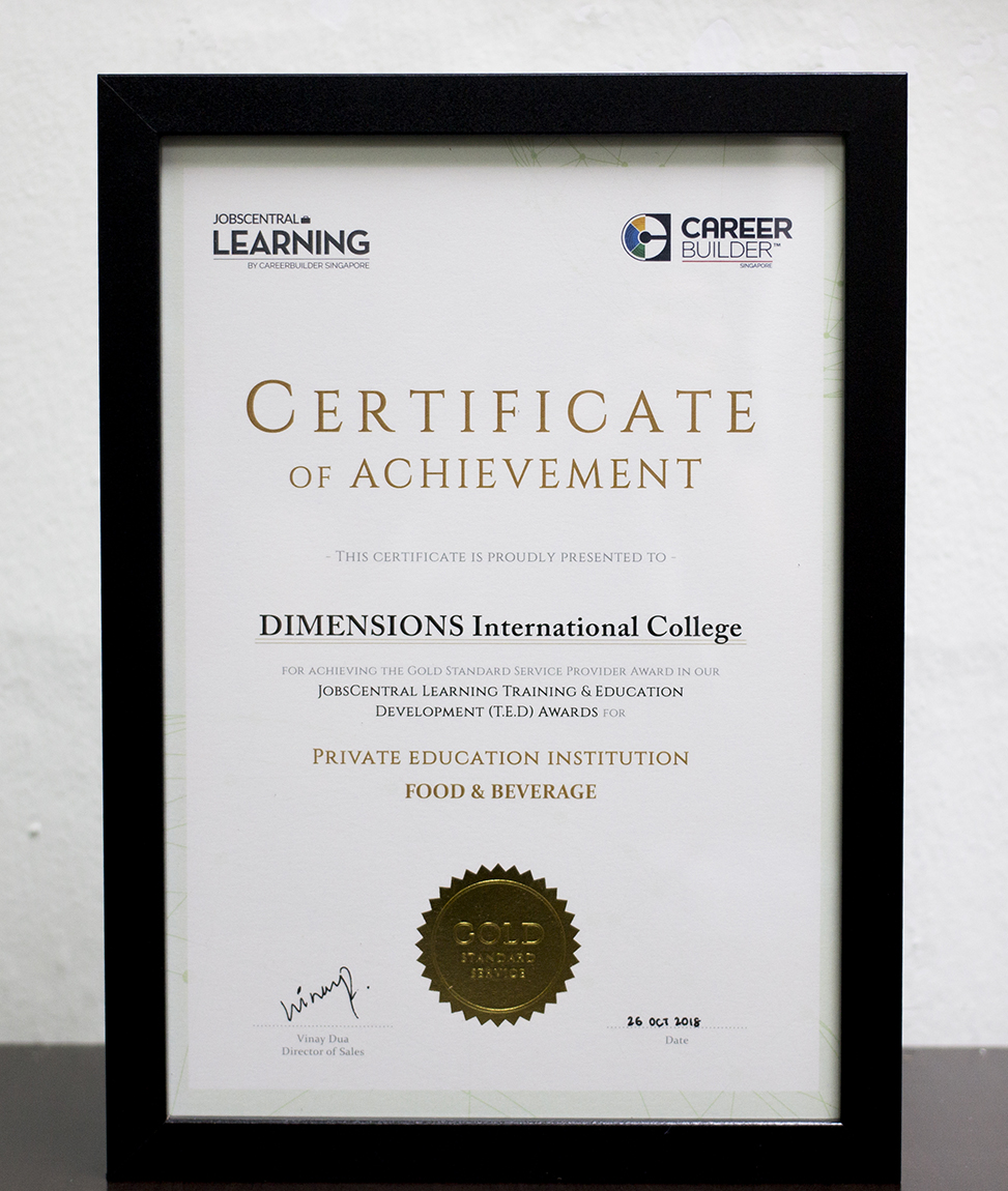 Gold Standard Service Provider Award for Private Education Institution in Food and Beverage